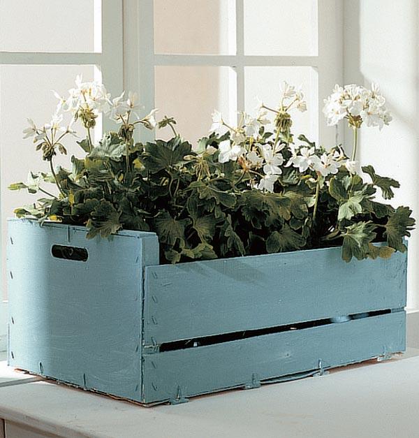jardín decorar con cajas de fruta