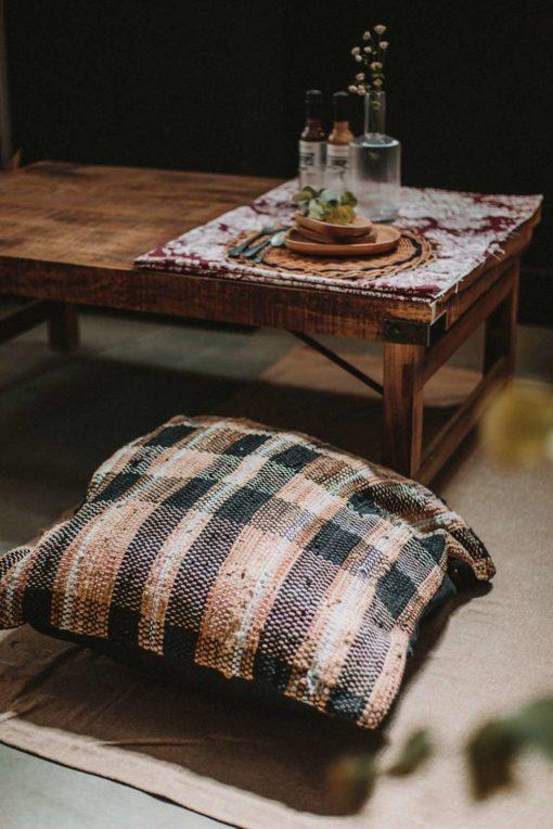 COFFEE Mesa baja de madera tropical envejecida estilo vintage industrial. Plegable.