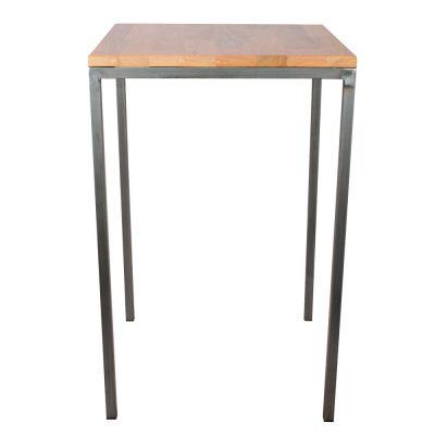 ELEPHANT Mesa de estilo industrial con estructura de tubos de hierro de 3 cm y tapa de madera.