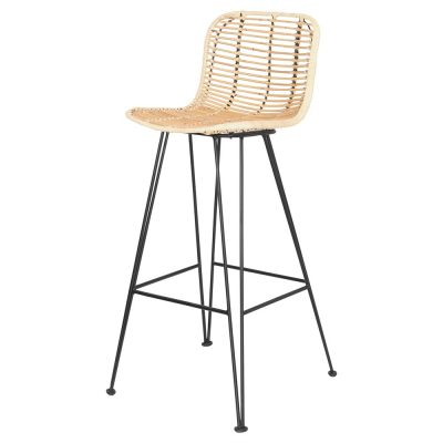 DAISY Taburete estilo nórdico con estructura de metal lacada en negro y asiento de rattan natural. MisterWils, furniture for free souls