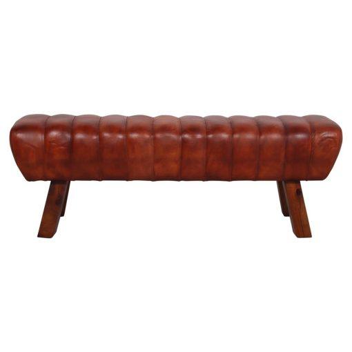 BRETAIN Banco estilo vintage con estructura de madera tropical y asiento tapizado en piel.