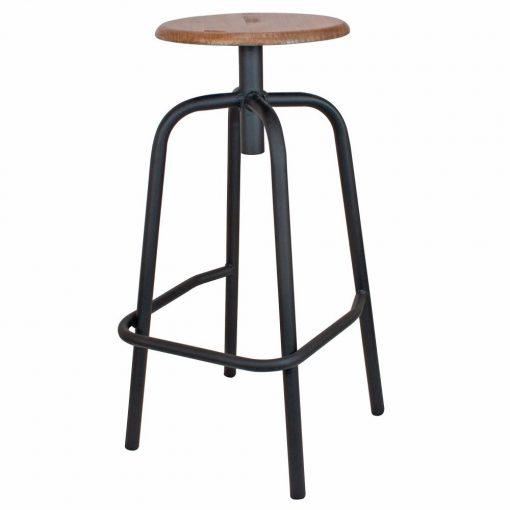 ANDERSON MINI NEGRO Taburete bajo estilo industrial con estructura tubular de acero con acabado en óxido texturizado y asiento de madera.