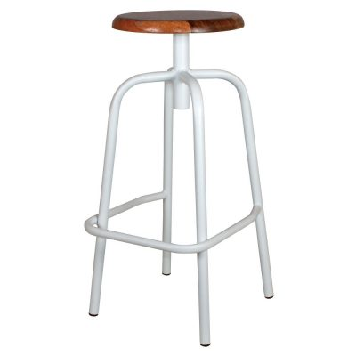 ANDERSON MINI BLANCO Taburete bajo estilo industrial con estructura tubular de acero con acabado en óxido texturizado y asiento de madera.