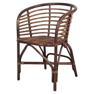 DAWSON MARRÓN Silla estilo nórdico de bambú natural con acabado en color marrón oscuro. No apta para exterior.