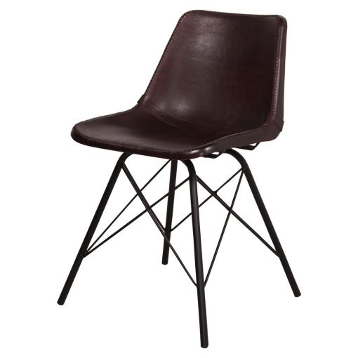 CAMELOT Silla estilo industrial con estructura tubular de acero con acabado en negro y asiento de PP tapizado en piel color marrón oscuro.
