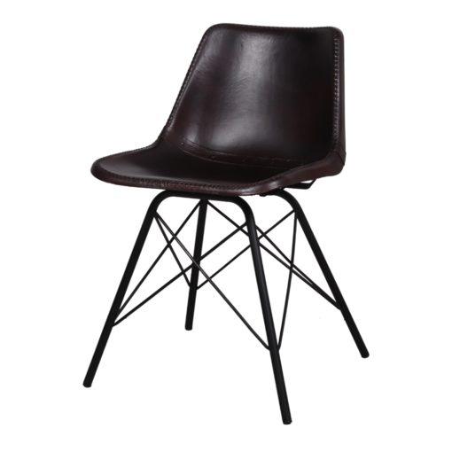 SILLA DE PIEL CAMELOT, de estilo industrial con estructura tubular de acero con acabado en negro y asiento de PP tapizado en piel color marrón oscuro.1