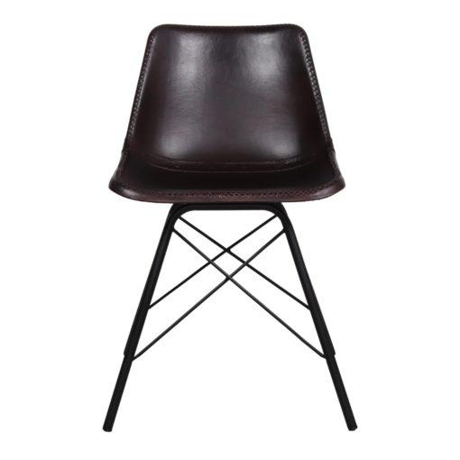 SILLA DE PIEL CAMELOT, de estilo industrial con estructura tubular de acero con acabado en negro y asiento de PP tapizado en piel color marrón oscuro.2