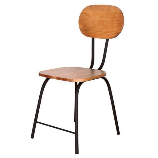 silla madera y metal miguelita negra