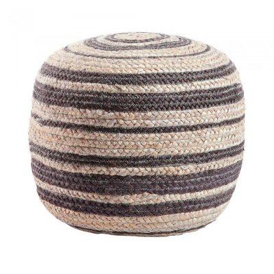 SAMY NEGRO Puff redondo estilo Nórdico - Shabby Chic fabricado en yute. Encuéntralo en MisterWils. Más de 4000m² de exposición y almacén.