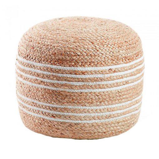 SAMY BLANCO Puff redondo estilo Nórdico - Shabby Chic fabricado en yute. Encuéntralo en MisterWils. Más de 4000m² de exposición y almacén.