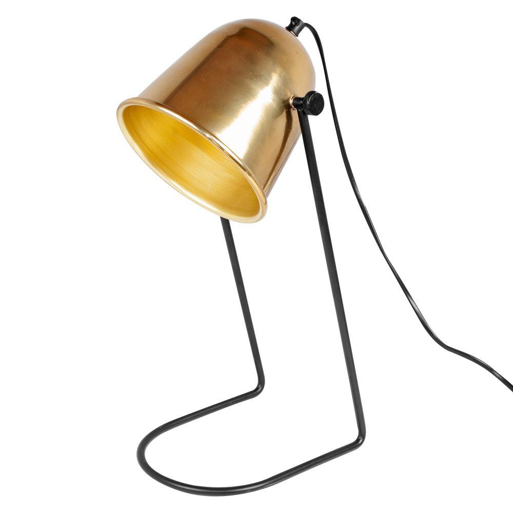 CAIMÁN Lámpara de mesa estilo vintage de acero y latón.