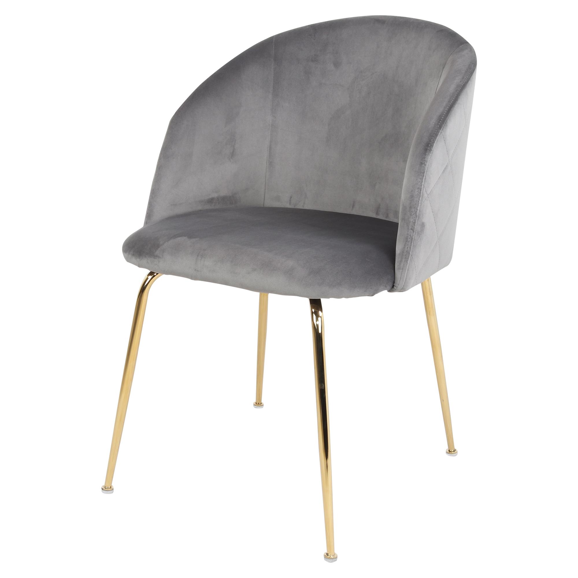 MisterWils, Silla estilo nórdico - contemporáneo con estructura fabricada en acero con acabado en baño latón y asiento tapizado en terciopelo Lupin Grey