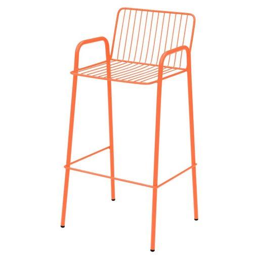 RIVIERATAB taburete alto de acero galvanizado, apilable y válido para exterior. Consultar colores disponibles, acabado en pintura powder coated.