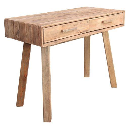 KEVIN Consola escritorio estilo Rústico de madera reciclada con 2 cajones. Encuéntrala en MisterWils. Más de 4000m² de exposición y almacén.