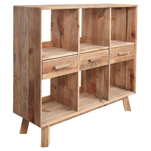 KARLO Estantería estilo Rústico de madera reciclada con 3 cajones y 6 compartimentos. Encuéntrala en MisterWils. Más de 4000m²...