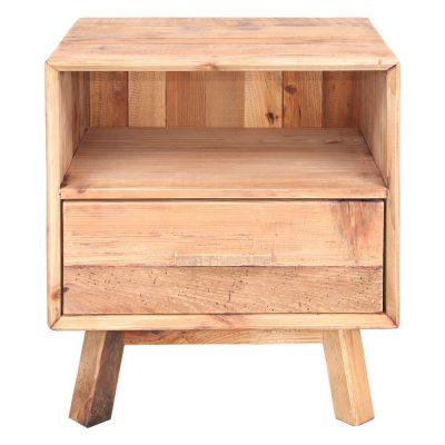 MENDOZA Mesita de noche estilo Rústico de madera reciclada con 1 cajón. Encuéntrala en MisterWils. Más de 4000m² de exposición y almacén.