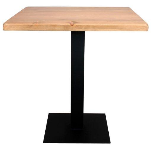 Mesa FERRO NEGRO MANGO estilo industrial-contract con pie de acero y tapa de madera. Personalizable.