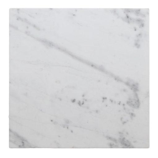 TAPA MÁRMOL BLANCO PARSON tipo Ibiza. Tapa cuadrada de mármol blanco con bordes redondeados gracias al fresado.1