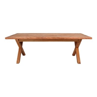 TRESTEL Mesa estilo Vintage fabricada en madera maciza de pino reciclado con patas tipo cruz. Encuéntrala en MisterWils.