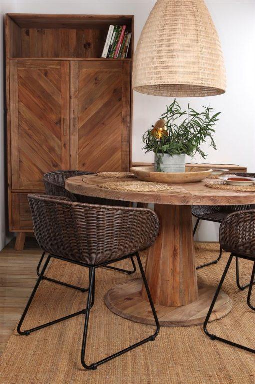 CASIOPEA Pantalla para lámpara estilo nórdico/tropical fabricada en rattan natural.