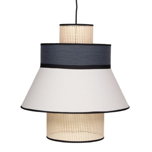 CARDIGAN AZUL Lámpara de techo fabricada en rejilla de enea y textil. Encuéntrala en MisterWils. Más de 4000m² de exposición y almacén.