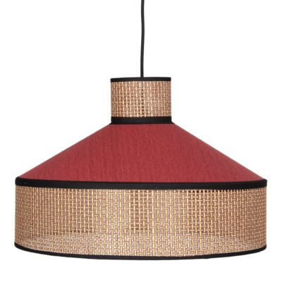 HOODIE ROJA Lámpara de techo fabricada en rejilla de enea y textil. Encuéntrala en MisterWils. Más de 4000m² de exposición y almacén.