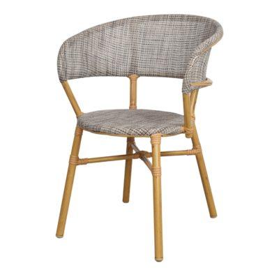 SILLA DE EXTERIOR PROPER de estilo Bistró, estructura fabricada en aluminio imitación a bambú, respaldo y asiento tapizados en textilene. 1