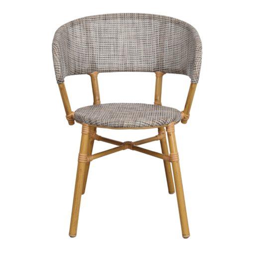 SILLA DE EXTERIOR PROPER de estilo Bistró, estructura fabricada en aluminio imitación a bambú, respaldo y asiento tapizados en textilene. 2