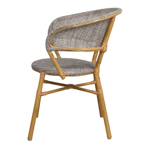 SILLA DE EXTERIOR PROPER de estilo Bistró, estructura fabricada en aluminio imitación a bambú, respaldo y asiento tapizados en textilene. 3