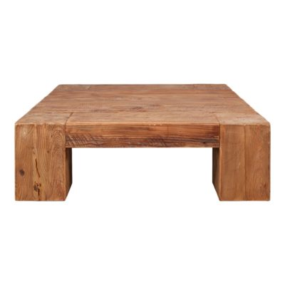 HUDSON Mesa baja cuadrada fabricada en madera de pino reciclado. Encuéntrala en MisterWils. Más de 4000m² de exposición y almacén.