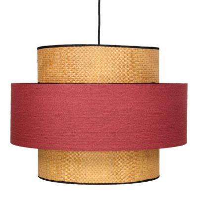 FABIENNE ROJA Lámpara de techo fabricada en rejilla de enea y textil. Encuéntrala en MisterWils. Más de 4000m² de exposición y almacén.