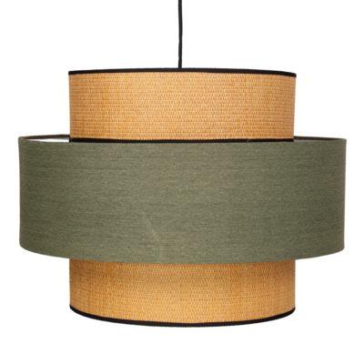 FABIENNE VERDE Lámpara de techo fabricada en rejilla de enea y textil. Encuéntrala en MisterWils. Más de 4000m² de exposición y almacén.