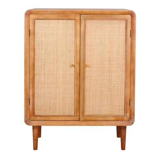 BIRKEN Aparador estilo Exótico de madera y rattan con 2 puertas. Encuéntralo en MisterWils. Más de 4000m² de exposición y almacén.
