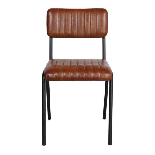 SILLA DE PIEL JENKI de estilo Industrial. Estructura fabricada en acero acabada en color negro. Asiento y respaldo tapizado en piel 2