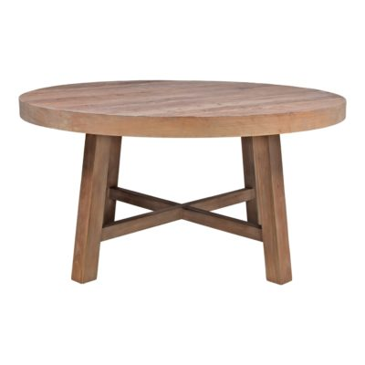 COCO Mesa de comedor con tapa circular fabricada en madera de olmo. Encuéntrala en MisterWils.