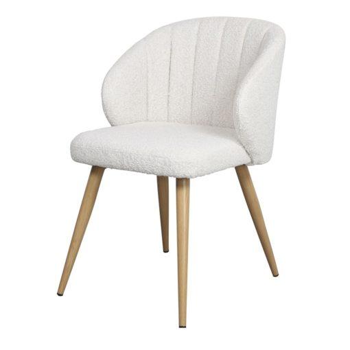 silla tapizada INSIDE lana boucle color blanca vista 3/4