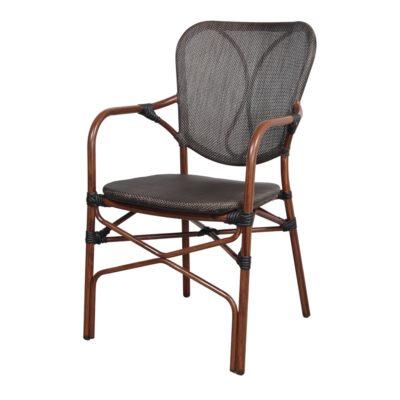 SILLA DE EXTERIOR DUBAI de estilo Bistró. Estructura de aluminio imitación a bambú, asiento y respaldo tapizado en textilene color negro. 1
