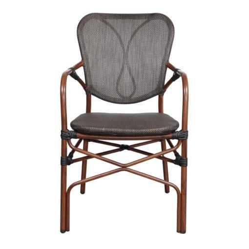 SILLA DE EXTERIOR DUBAI de estilo Bistró. Estructura de aluminio imitación a bambú, asiento y respaldo tapizado en textilene color negro. 2
