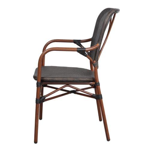 SILLA DE EXTERIOR DUBAI de estilo Bistró. Estructura de aluminio imitación a bambú, asiento y respaldo tapizado en textilene color negro. 3