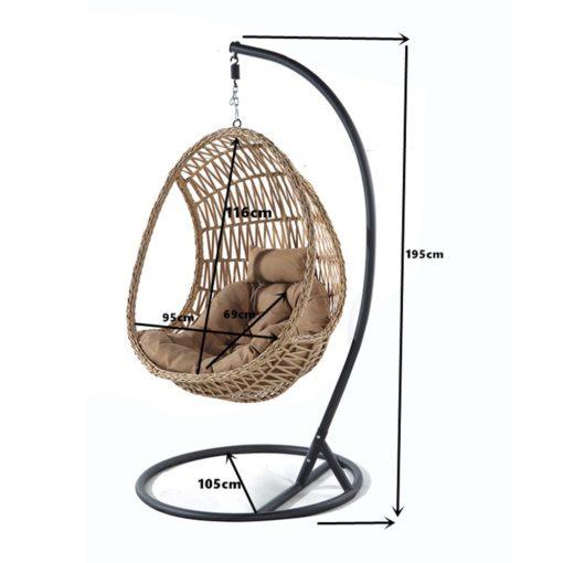 ORUGA Silla colgante tipo Egg Chair de rattán sintético con soporte incluido. Encuéntrala en MisterWils. Más de 4000m² exposición y almacén
