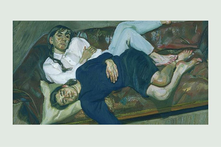 Sillón chester con capitoné en Bella y Esther (1988); obra de Lucian Freud