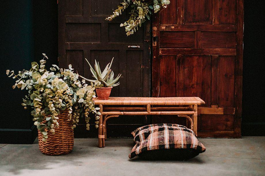 plantas, bancos y cojín en lateral de un salón
