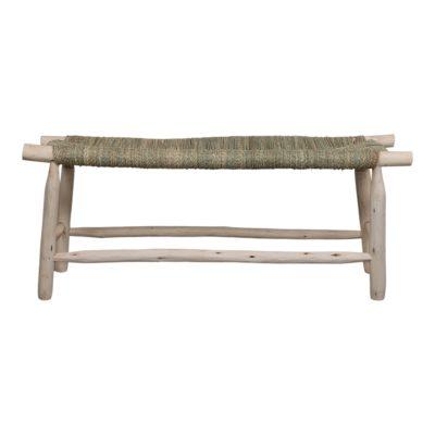 BIFASE Banco de madera de laurel tapizado en palmito trenzado. Encuéntralo en MisterWils. Más de 4000m² de exposición y almacén.
