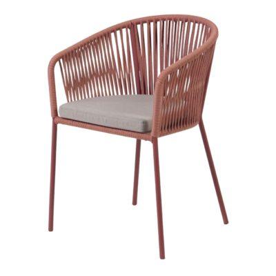 JANET TERRACOTA Silla de acero con asiento de cuerda. Encuéntralo en MisterWils. Más de 4000m² de exposición y almacén.