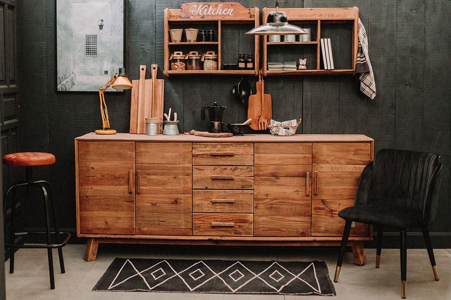 muebles de cocina de madera reciclada