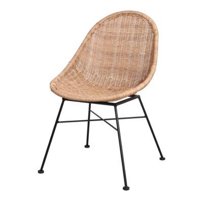 SILLA DE RATTÁN SINTÉTICO DABILY estilo Nórdico. Estructura de acero y asiento de rattan sintético. Apta para exterior. 1