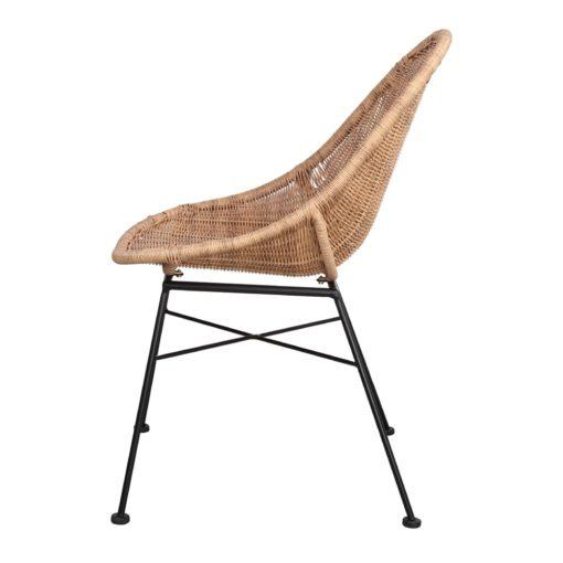 SILLA DE RATTÁN SINTÉTICO DABILY estilo Nórdico. Estructura de acero y asiento de rattan sintético. Apta para exterior. 3